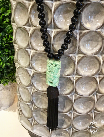 Teramasu Black Onyx Necklace with Carved Jade and Black Tassel Pendant