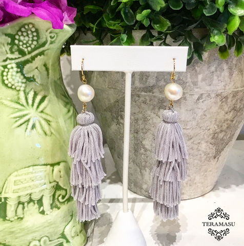 Teramasu Freshwater Pearl with Grey Tassel Earrings