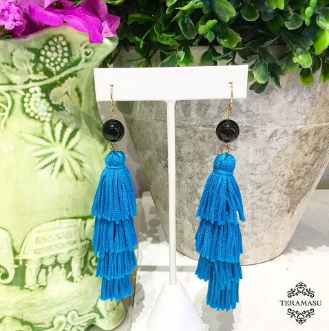 Teramasu Black Onyx with Blue Tassel Earrings