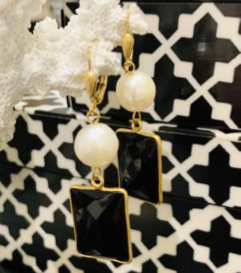 Teramasu Pearl Black Onyx Earrings