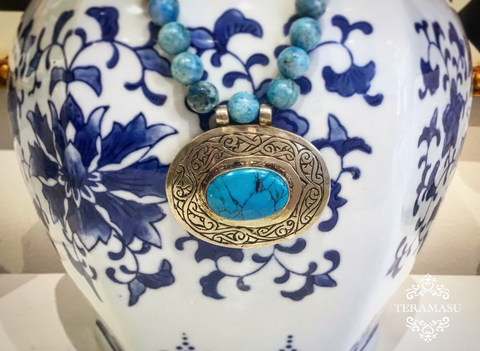 Chic Peek: Gorgeous Handmade Designer Teramasu One of a Kind Turquoise and Silver Pendant Necklace