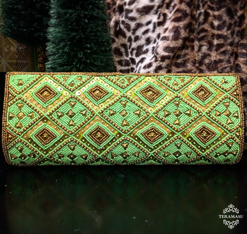 Green Clutch with Green and Gold Beaded Geometric Design