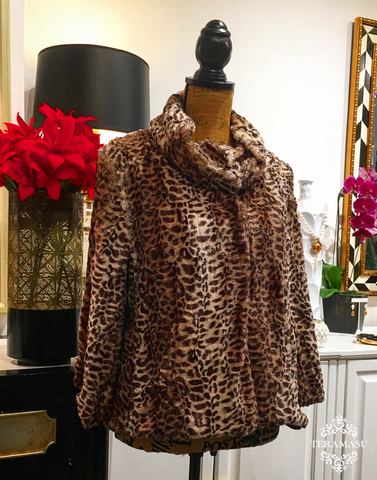 Brown Leopard Print Faux Fur Cowl Neck Swing Coat with Snap Front