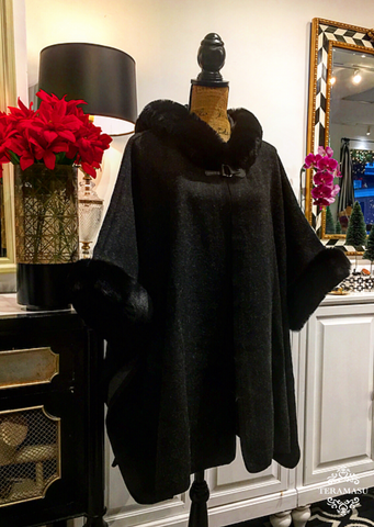 Teramasu Charcoal Grey & Black Cape with Faux Fur Trimmed Hood and Sleeves
