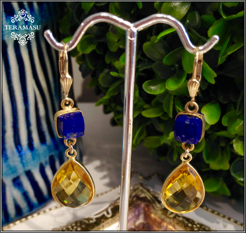 """Want It"" Wednesday: Gorgeous Handmade Designer Teramasu Citrine and Lapis Drop Earrings"