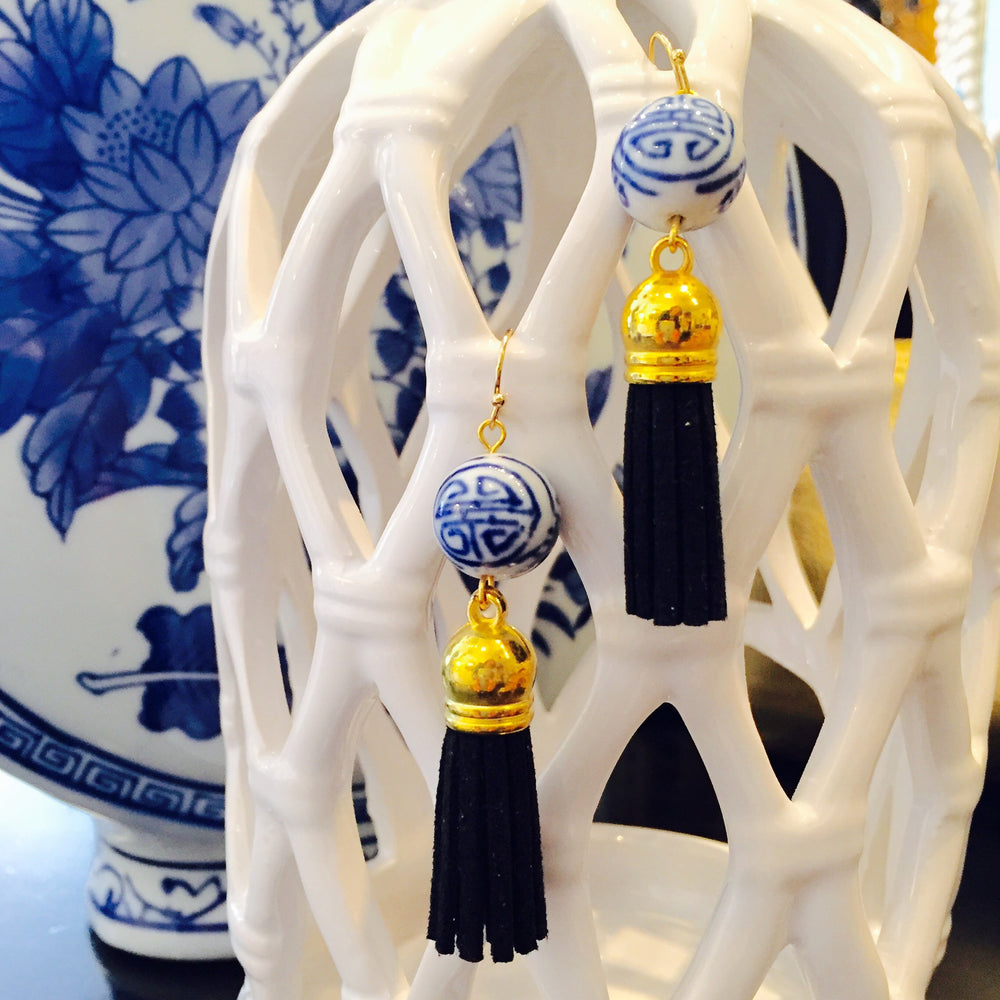 Blue White Hand Painted Porcelain Black Suede Tassel Earrings
