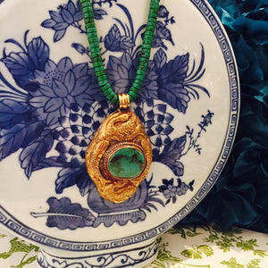 Green Turquoise Necklace With Vintage Gold Turquoise Pendant