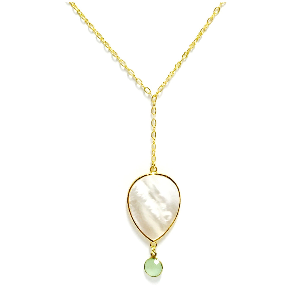 Mother of Pearl Green Chalcedony Gold Filled Drop Necklace