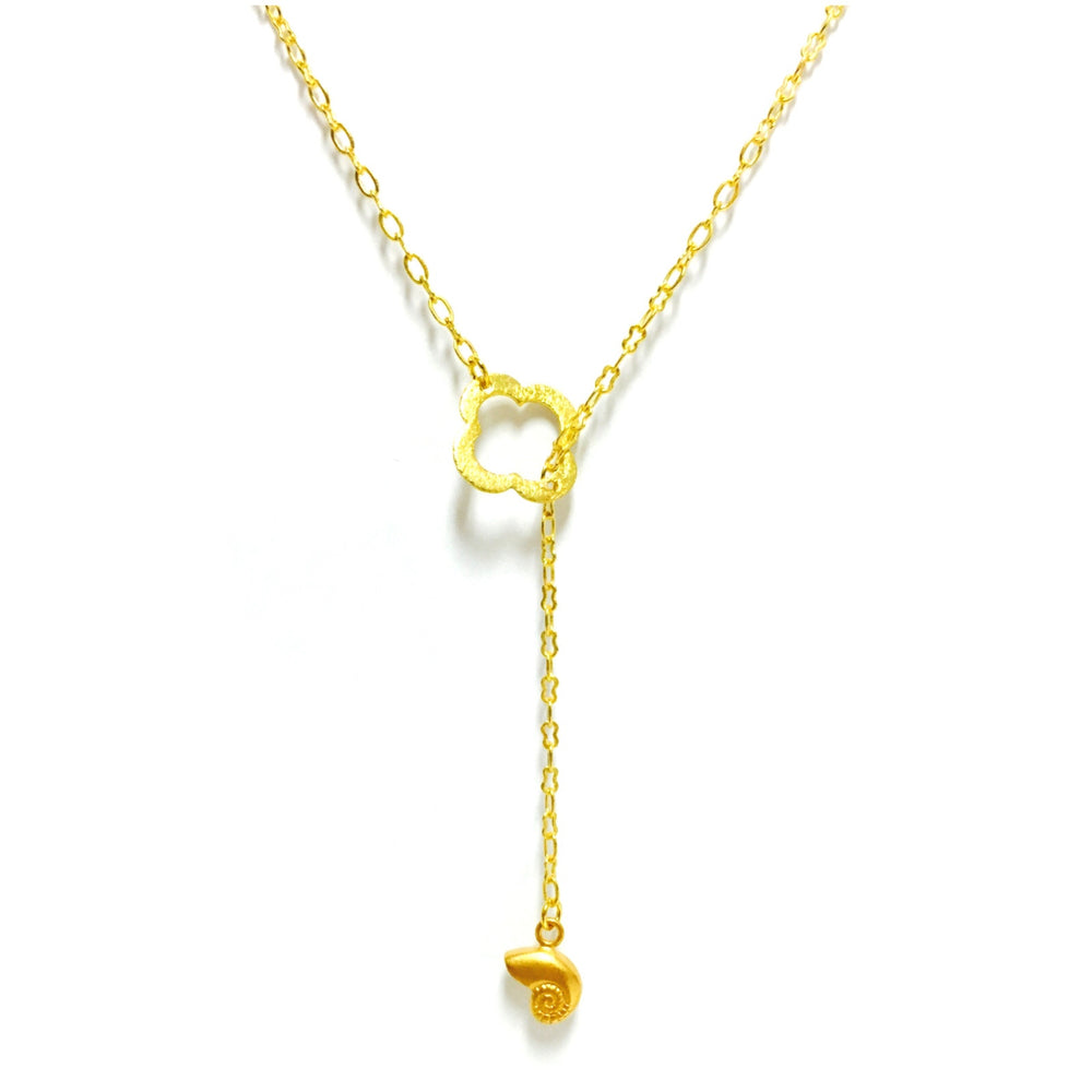 Sealife Shell Clover Lariat Necklace
