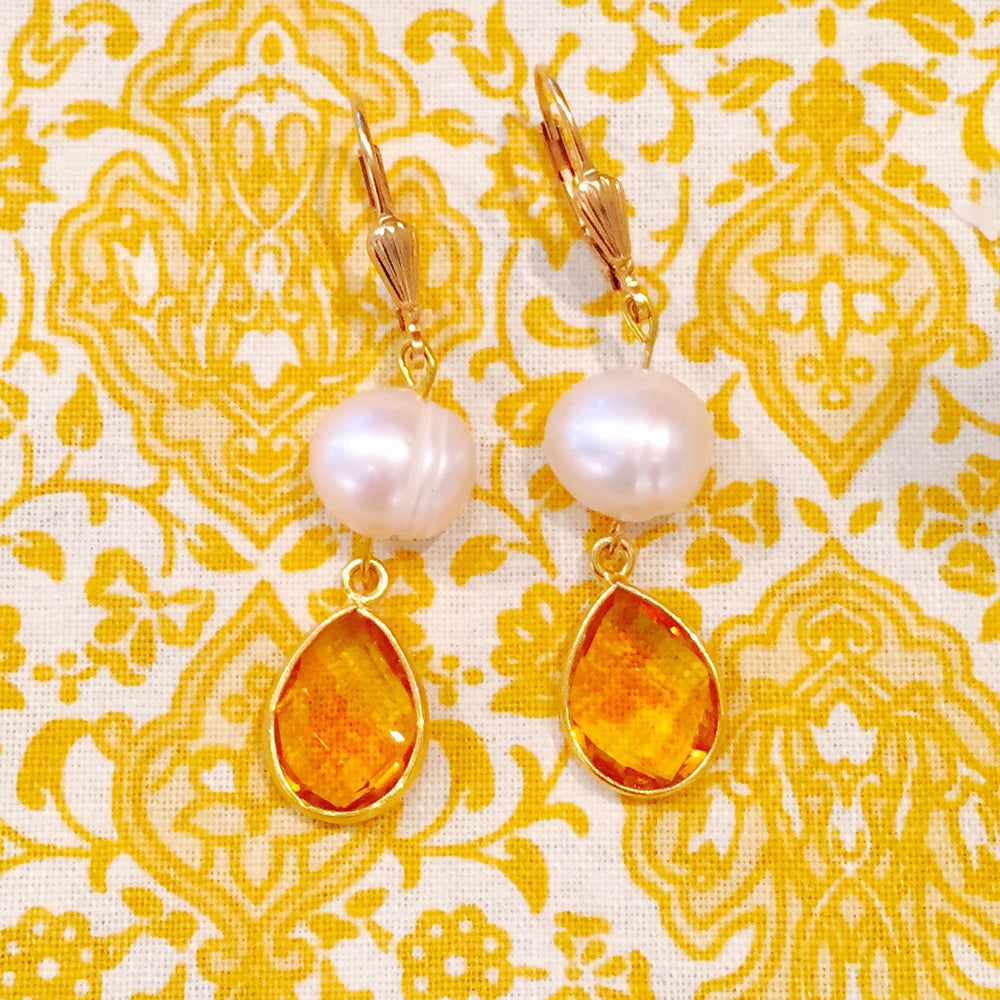 "Citrine ""The Success Stone"" Freshwater Pearl Dangle Earrings"