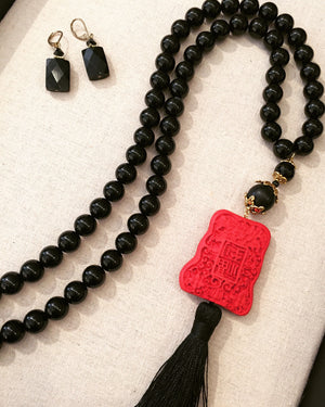 Black Onyx Cinnabar Tassel Necklace