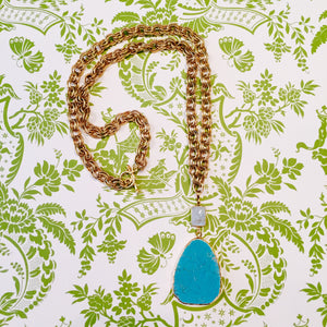 Turquoise Blue Howlite Moonstone  Vintage Chain Necklace