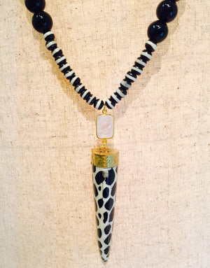 Black Onyx Bone Moonstone Horn Necklace
