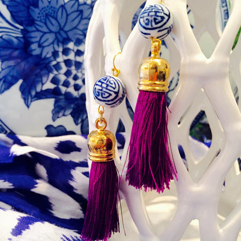 Teramasu Blue and White Porcelain Purple Tassel Earrings