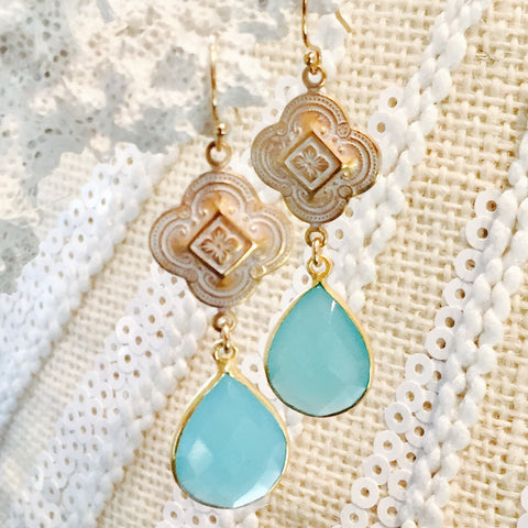 Aqua Chalcedony Quatrefoil Design Patina Earrings