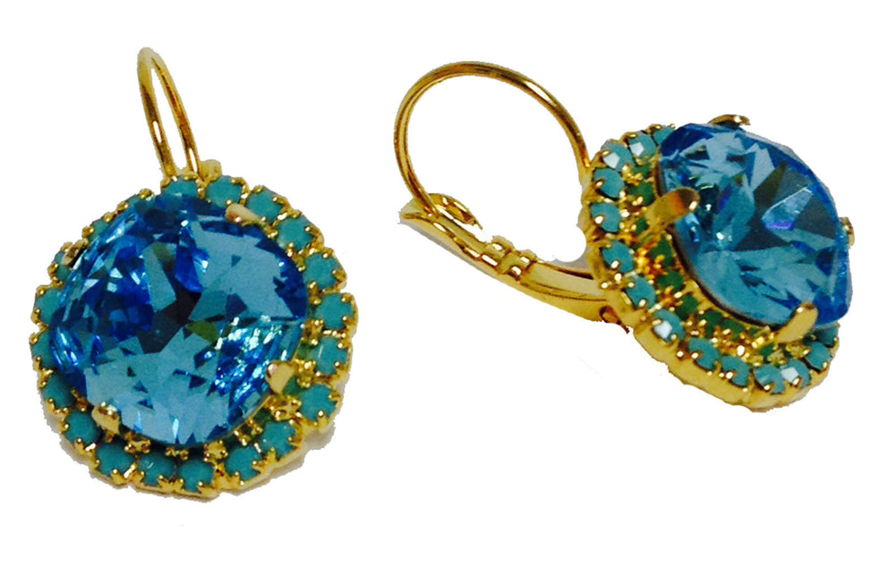 Aqua Swarovski Crystal With Turquoise Blue Rhinestones Leverback Dangle Earrings