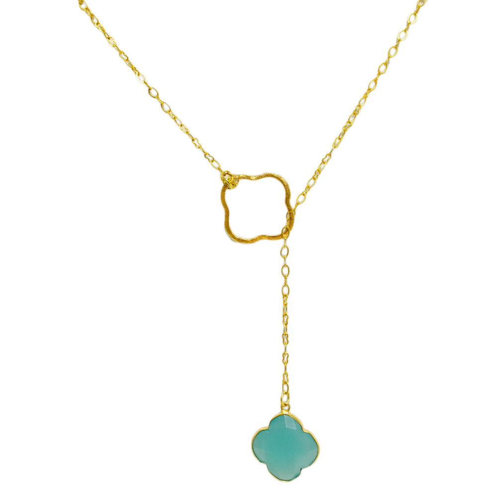 Aqua Chalcedony Clover Gold Filled Lariat Necklace
