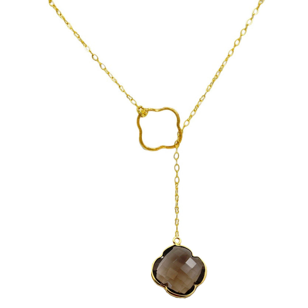 Smokey Topaz Clover Gold Filled Lariat Necklace
