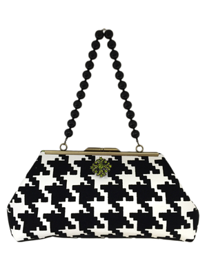 Black and White Houndstooth Clutch Purse