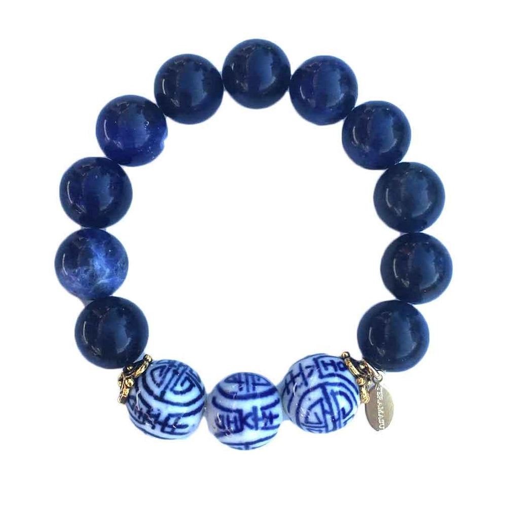 Handmade Blue and White Hand Painted Chinesoire Design Blue Sodalite Stretch Bracelet by Teramasu