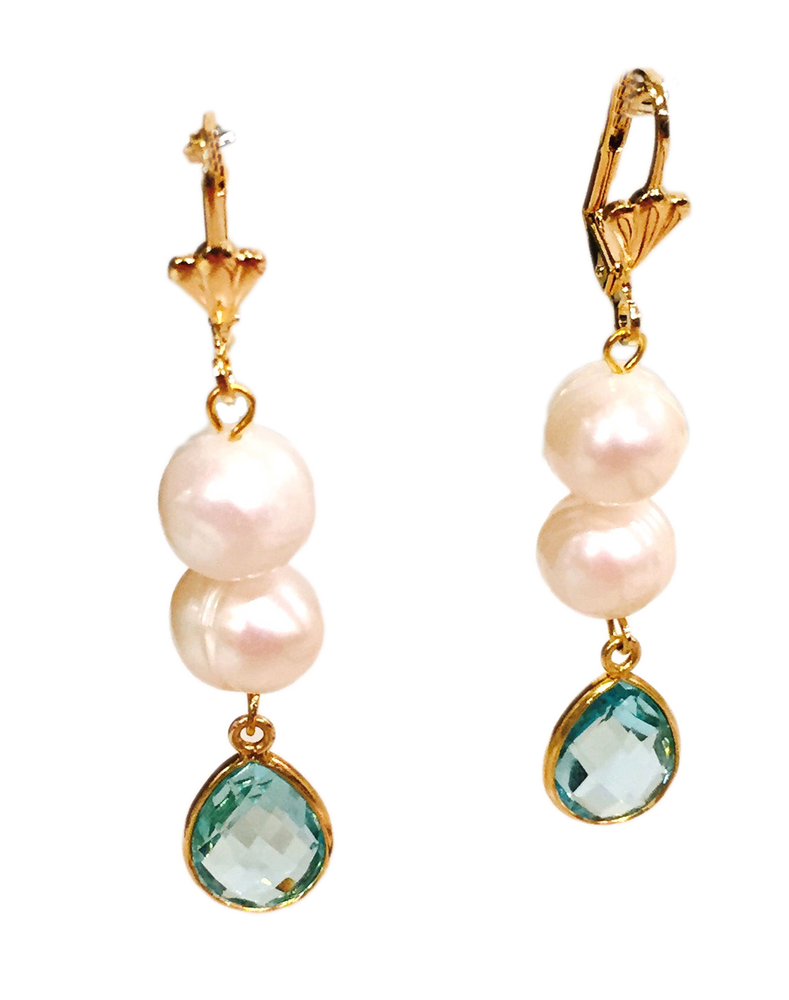 Blue Topaz Pearl Earrings