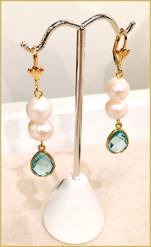 Blue Topaz Pearl 24k Gold Filled Earrings