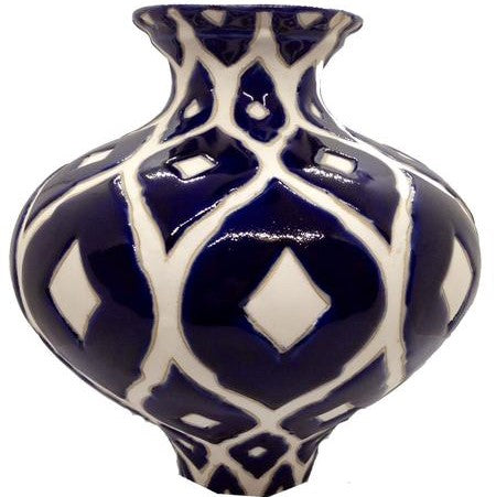 Navy Blue and White Vase