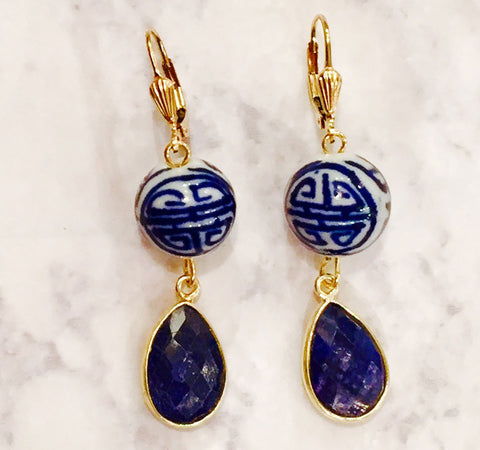 Hand Painted Blue White Porcelain Dyed Sapphire Gemstone Lever Back Earrings