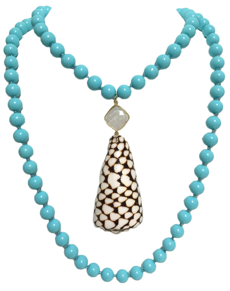 Shell We Dance Cone Shell Turquoise Blue Bead and Moonstone Necklace