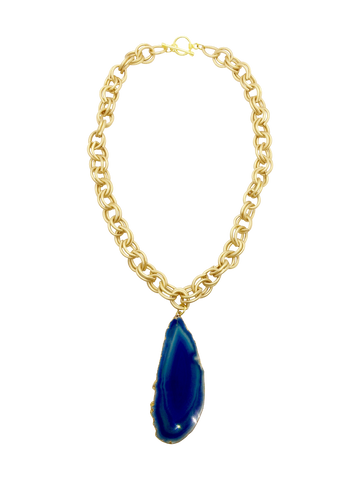 Teramasu Blue Agate and Gold Chain Necklace