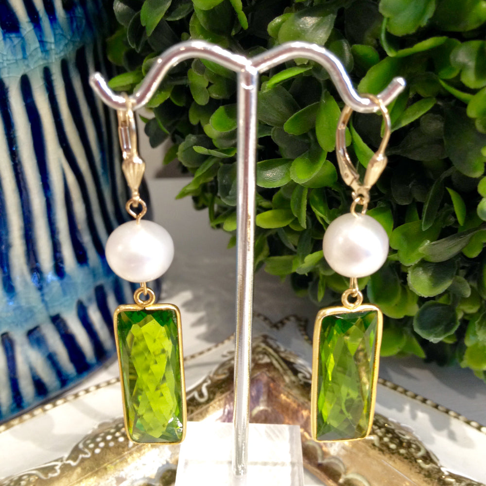 Teramasu Green Amethyst and Pearl Drop Earrings