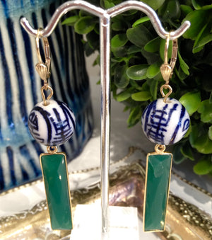 Teramasu Green Onyx and Hand Painted Blue and White Porcelain Drop Earrings