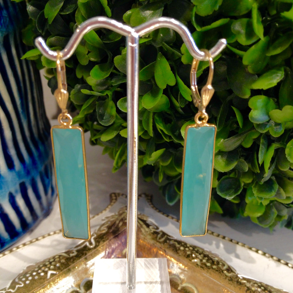 Teramasu Aqua Chalcedony Drop Earrings