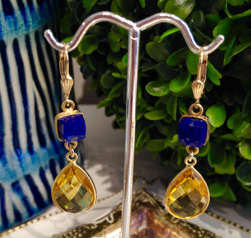 Teramasu Citrine and Lapis Drop Earrings