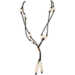 Pearl Black Satin Lariat and Long Necklace