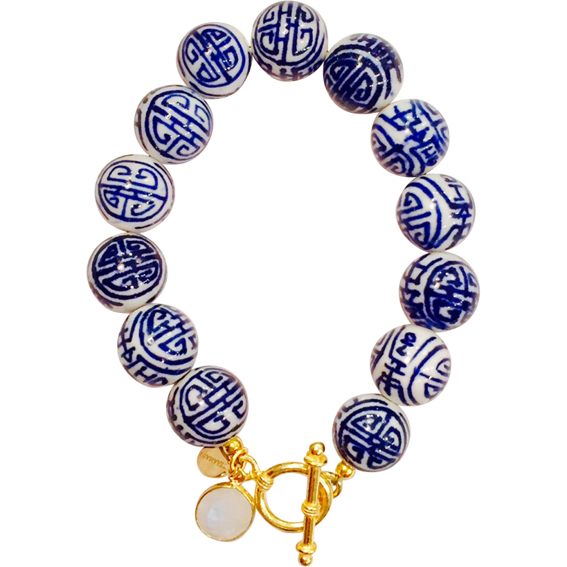 Hand Painted Blue White Porcelain Gold Filled Toggle Bracelet With Moonstone