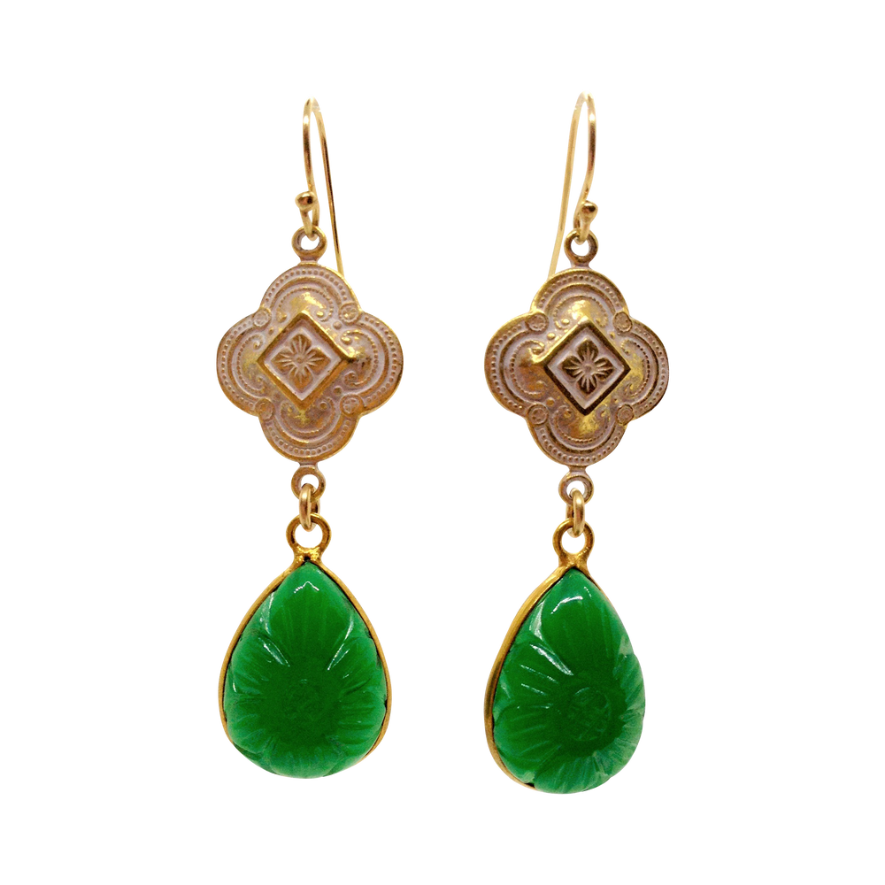 Teramasu Carved Green Jade Quatrefoil Design Drop Earrings