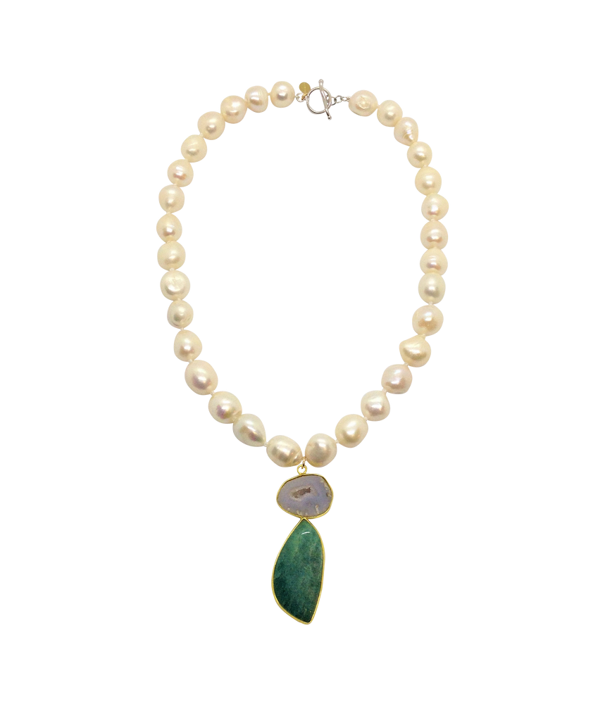 Teramasu Pearl Necklace with White Druzy Agate Stone Pendant