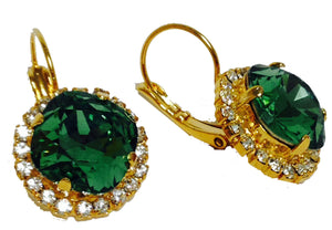 Green Swarovski Crystal With Crystals Leverback Dangle Earrings