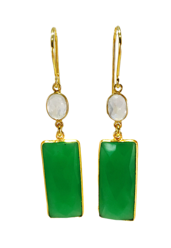 Moonstone Green Chalcedony Earrings