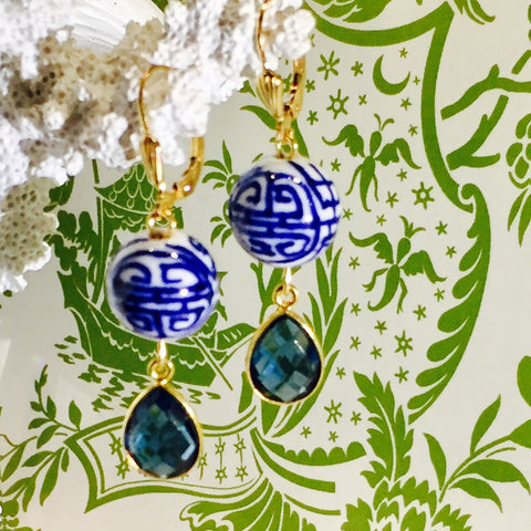 HAND PAINTED PORCELAIN BLUE WHITE DESIGN BLUE CRYSTAL DROP EARRINGS -Teramasu