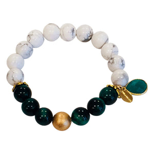 Handmade Green Verdite and White Howlite Stretch Bracelet With Green Onyx Charm By Teramasu