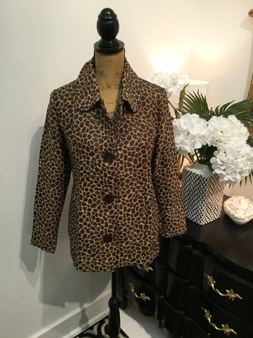 Teramasu Button Down Giraffe Print Jacket With Pockets