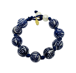 Teramasu Hand-painted Blue and White Porcelain Navy Satin with Pearl Bracelet