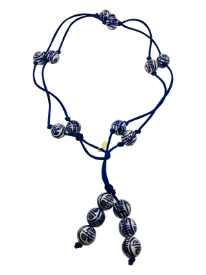 Teramasu Blue and White Porcelain Navy Satin Lariat