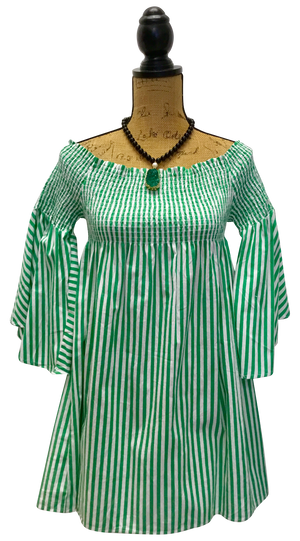 Teramasu Green and White Striped Bell Sleeve Tunic