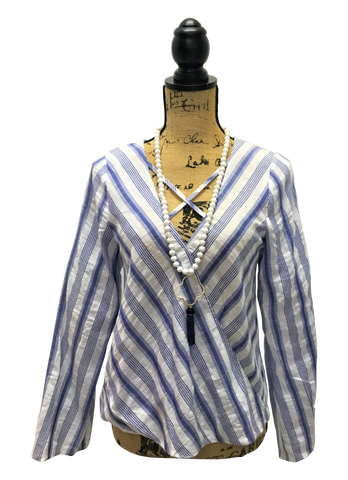 Blue and White Stripe Wrap Front Blouse with Detailed V-Neck Neckline