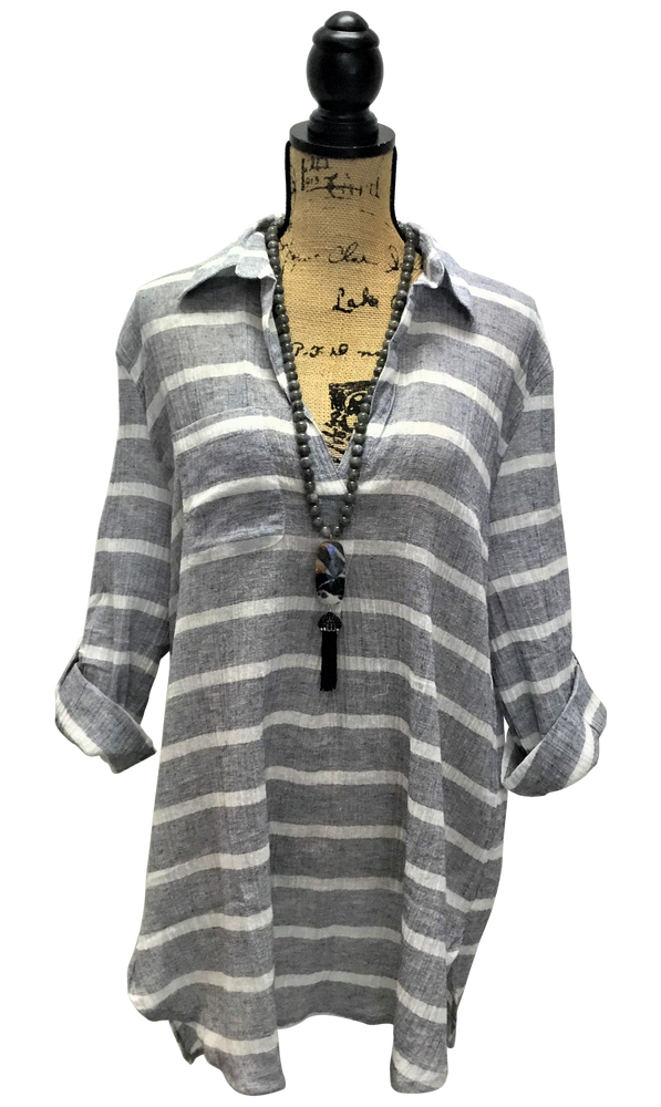 Grey-Blue and White Striped Pocket Tunic Top with Collared V-Neck and Adjustable Sleeves