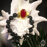 Teramasu Black Onyx and One of a Kind Red Stone Box Clasp Bracelet