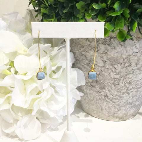 Teramasu Blue Opal Stone Drop Earrings